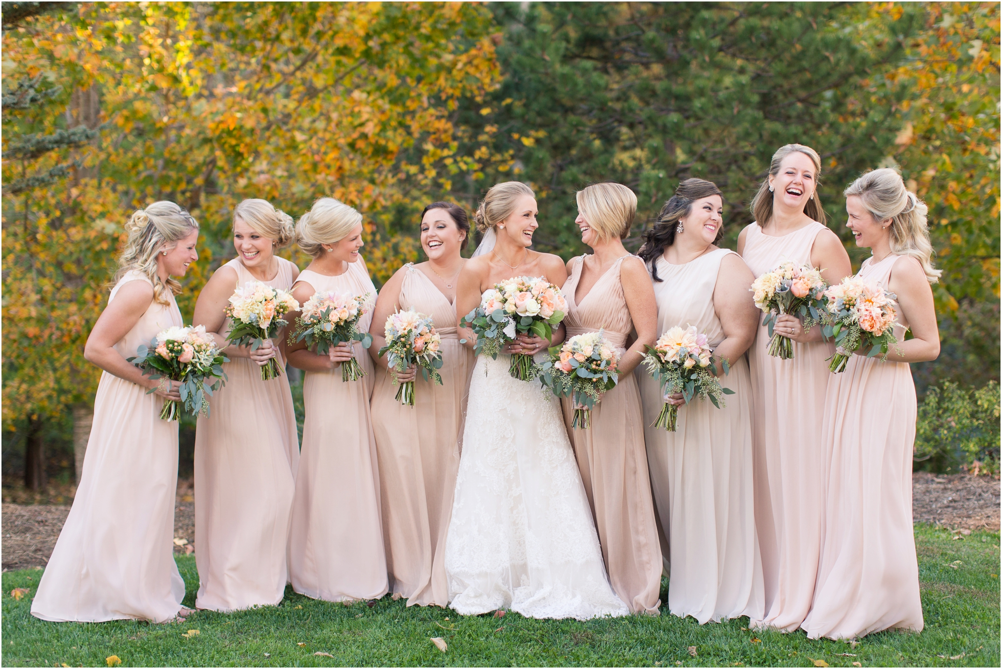 Blush Pink And Champagne Bridesmaid Dresses
